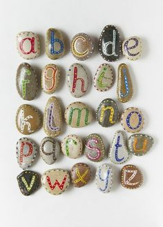 Painted rocks - this would be fun to do like scrabble and spell words out in the garden