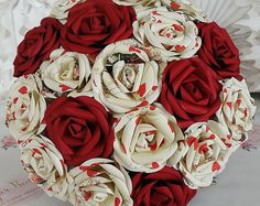 Paper flower bouquet wedding red playing cards vegas casio