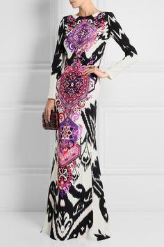 5ad2c34b85a EMILIO PUCCI Printed Silk Jersey Long Sleeves Maxi Dress