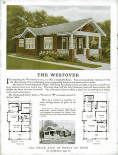 Sterling Kit House - The Westover. So much like our first house. Bungalow Homes, Bungalow House Plans, Craftsman Style Homes, Craftsman Bungalows, Craftsman House Plans, Small House Plans, House Floor Plans, Vintage House Plans, Vintage Homes