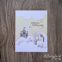 MFT Stamps - Magical Unicorns and Stitched Cloud Edges; Happy Birthday Cards Handmade, Greeting Cards Handmade, Funny Cards, Cute Cards, Rainbow Card, Mft Stamps, Magical Unicorn, Animal Cards, Card Making Inspiration