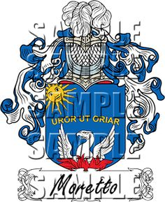 Moretto Family Crest apparel, Moretto Coat of Arms gifts