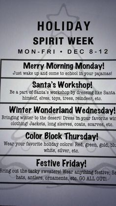 Image result for holiday spirit week ideas