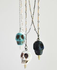 Pamela Love howlite skull necklace. I'm digging the white or the turquoise.