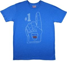 New Jersey Nets #1 Shirt by Junk Food  This officially licensed NBA shirt by Junk Food features a #1 foam finger print above the New Jersey Nets team logo.    Fabric Details        Color: Blueberry      50% cotton / 50% polyester    Our Price: $25.95