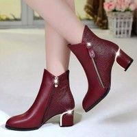 Women Boots Winter Women shoes woman Fur Ankle Boots High Heel Boots Warm Shoes Zapatos Mujer botas mujer plus size Black Red Thick Heel Boots, Fur Ankle Boots, Chunky High Heels, Block Heel Ankle Boots, Black High Heels, Leather Boots, Heeled Boots, Shoe Boots, Pu Leather