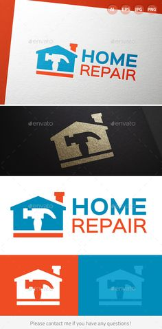 Home Repair and Remodeling Logo Design Template Vector #logotype Download it here:  http://graphicriver.net/item/home-repair-and-remodeling/9874802?s_rank=1332?ref=nesto