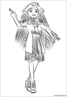 evie descendants 2 coloring page free coloring