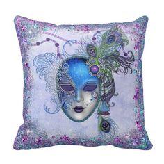 Peacock Feather Masquerade Mask Pillows