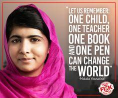 """Malala ganhou o último Prêmio Nobel da Paz por uma razão que parece simples, mas, na verdade, é muito grande. Ela luta para que todas as crianças tenham seu direito de ir para a escola - e em segurança! Malala, uma jovem paquistanesa de 17 anos, foi perseguida e até sofreu atentados contra sua vida. Mas seus princípios pessoais não foram mudados. """"Vamos lembrar: uma criança, um professor, um livro e uma caneta podem mudar o mundo""""."""