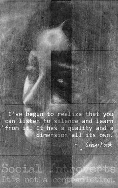 I've begun to realize that you can listen to silence and learn from it. It has a quality and a dimension all its own