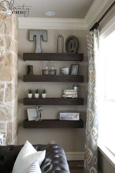 DIY Floating Shelves for my Living Room DIY Floating Shelves for my Living Room - Shanty 2 Chic Living Room Shelves, My Living Room, Home And Living, Living Room Decor, Small Living, Bedroom Bookshelf, Modern Living, Diy Home Decor For Apartments, Floating Shelves Bathroom