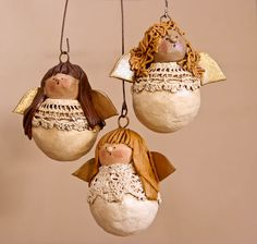 antique lace angel ornaments, I'll try this with needle. Felt