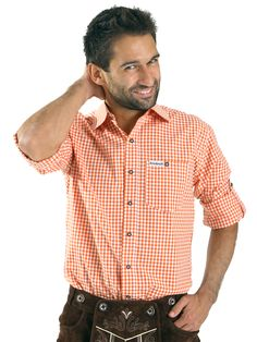 http://www.trachten24.eu/Trachtenhemd-Hannes-orange - Trachtenhemd Hannes orange - Bavarian shirt Hannes orange