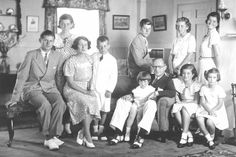 JFK (sitting on back of sofa) with his siblings and parents: Ambassador Joseph P. Kennedy Sr. and Rose Fitzgerald Kennedy.