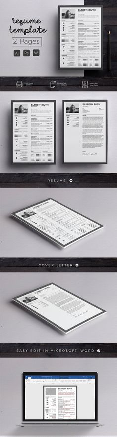 Resume & Cover Letter Template by Hito Graphic on @creativemarket