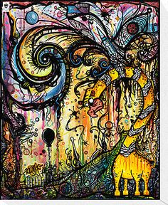 """Spaced Out"" by Mason Wilson   Ink wash, pinstriped india inks. Representing the complexity of the earth and it's physical characteristics, along with the beauty we behold with our naked eye. Within the pinstriping on the bottom of painting lies a moon in slumber cradled near a crowned infinity insignia, symbolizing the ongoing cycle of physical life in our world. The sky is left simplistic, in the idea that our life after our existence here is peaceful, simple, spiritual, and never-ending."