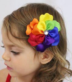 Rainbow Flower Hair Clip  Rainbow Petals  by SweetestBugBows, $10.00