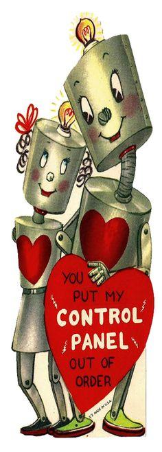 **FREE ViNTaGE DiGiTaL STaMPS**: Free Vintage Downloads - More Retro Valentines Vintage Robot Love