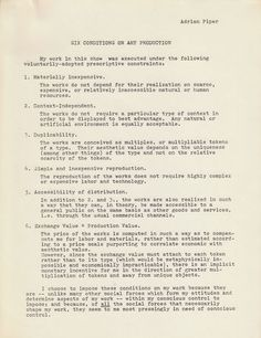 """Adrian Piper: Six Conditions of Art Production, 1975. Written for the exhibition """"Lives"""", organized by Jeffrey Deitch, The Fine Arts Building, 105 Hudson St., NYC, November 29 - December 20, 1975."""