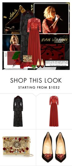 """""""Adele: 2016 Grammy Awards"""" by beautifully-eclectic ❤ liked on Polyvore featuring Alexander McQueen, Elie Saab, Dolce&Gabbana, Christian Louboutin, adele, celebstyle, GrammyAwards and alliask"""