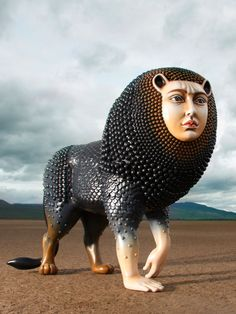 The Garden of Earthly Delights, Lion by Sergio Bustamante on Curiator, the world's biggest collaborative art collection. Sculptures Céramiques, Resin Sculpture, Lion Sculpture, Pottery Sculpture, Le Sphinx, Garden Of Earthly Delights, Mexican Artists, Funky Art, Arte Popular