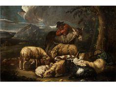 Domenico Brandi, 1683 Neapel – 1736, zug.  HIRTENSZENE Öl auf Leinwand. 64 x 97 cm. Abendliche Landschaft, im Vordergrund dem Betrachter nahegebracht. Verschiedene Weidetiere wie Schafe, Ziegen und ein...