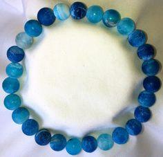 Frost Blaue Achat Heilstein Perlen Armband