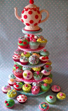 Vintage tea party.... love the polka dot cakes!