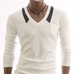 V-neck long sleeve collar accents