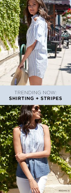 Blue and white are a winning color combination in our book. And they're even better when combined with timeless stripes. A shirtdress in a classic stripe  gets a modern upgrade with a shoulder slit, perfect for a summer day date. And your new favorite, easy-to-wear shirt is going to be this blue-and-white ombre textured tank. Find your perfect summer style with Kohl's.