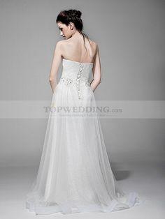 Yesseca - Escote corazón columna vestido de novia de encaje con superposición de tul