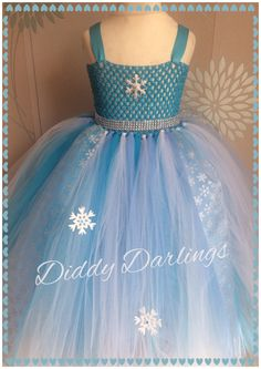Elsa Tutu Dress. Birthday Tutu Dress.  Beautiful & lovingly handmade.  All characters and colours available Price varies on size, starting from £25.  Please message us for more info.  Find us on Facebook www.facebook.com/DiddyDarlings1 or our website www.diddydarlings.co.uk