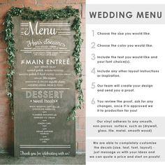 Wedding Menu Typography Sign - Wall Decal Custom Vinyl Art Stickers