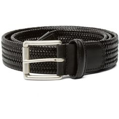 Anderson's Stretch Woven Leather Belt (£85) ❤ liked on Polyvore featuring men's fashion, men's accessories, men's belts, mens leather belt, mens braided leather belt, mens genuine leather belts, mens woven belts and mens leather accessories