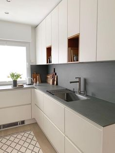 # small kitchen space # wall cabinets # kitchen planning # handleless kitchen - Home & DIY Kitchen Room Design, Modern Kitchen Design, Kitchen Layout, Home Decor Kitchen, Kitchen Interior, New Kitchen, Home Kitchens, Kitchen Small, Small Kitchens