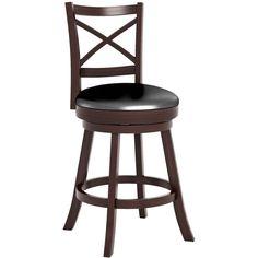 CorLiving - Bar Leatherette Chair - Black/Espresso (Black/Brown), DWG-394-B