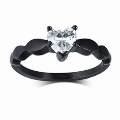 Black Titanium Mens Eternity Wedding Band Ring with Clear Round Cubic Zirconia 9mm