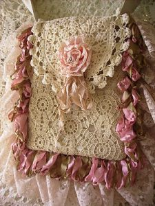 Very pretty Lacy crochet lace and ribbon purse inspiration only