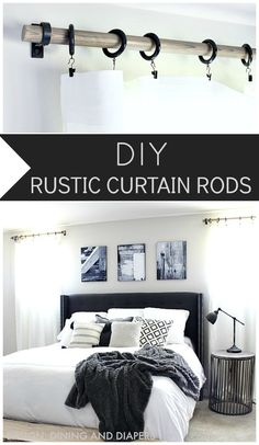 DIY RUSTIC CURTAIN RODS Easy Links:  1″ Dowel Rods  Industrial Loop Brackets in Black Curtain Rod Rings White Curtains (FYI they are a little off-white Read more at http://designdininganddiapers.com/2015/06/diy-rustic-curtain-rods/#uOFIsBwzGEbiXmrX.99