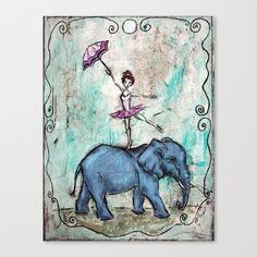 Francine and Jumbo Stretched Canvas by Allison Weeks Thomas - $85.00