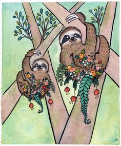 Sloth Garden - Sloth Art - Giclee Print - Sloth Watercolor - 5x7 - Small Art Print