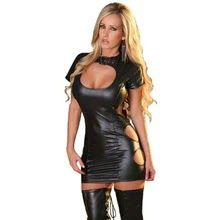 Sexy Wetlook Vinyl Leather Dress Womens Clothing Black Hook Eye Neck Hollow  Out MiniParty Club Wrap 5ee644a0d094