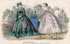 September fashions, 1865 France, Cendrillon