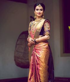 Ideas for indian bridal sari hindus Bridal Sarees South Indian, South Indian Bridal Jewellery, Wedding Silk Saree, Indian Bridal Fashion, South Indian Weddings, Tamil Wedding, Punjabi Wedding, Indian Jewelry, Lehenga Sari