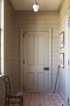 Herringbone brick pavers int he entryway + sage painted walls + gray green shiplap + shaker style home Brick Pavers, Brick Flooring, Entryway Stairs, Entryway Decor, Entry Way Design, Room Additions, Living Styles, Ship Lap Walls, Architect Design