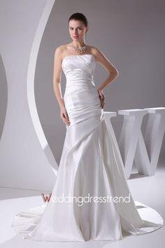 Graceful Ruched Strapless Satin Mermaid Wedding Dress http://www.weddingdresstrend.com/en/fairytale-pick-up-chapel-train-lace-up-wedding-dresses.html #Wedding #dress