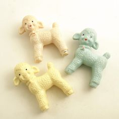 3 Vintage Lambs Baby Rattle Beads by efinegifts on Etsy They were strung on elastic for the pram.