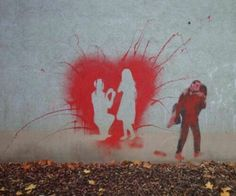 Les graffitis pochoir mural street art pour l'amour