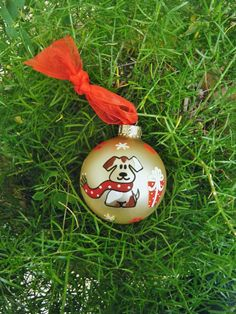 Handpainted Christmas Ornament  Dog with by BrushStrokeOrnaments, $14.25